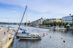 Freizeitboote machten Harnosand fest Lizenzfreie Stockfotografie