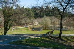 Freizeitpark im Freien bei Maia Portugal stockbilder