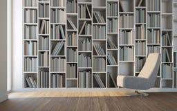 Freizeitraum mit Lehnsessel und Bibliothek Lizenzfreie Stockfotos