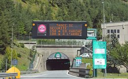 Frejus, France - August 15, 2018: Road Tunnel called Frejus