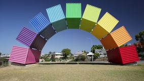 Fremantle rainbow container. Fremantle, Australia - Jan 7, 2018: Fremantle travel welcome bridge. Rainbow Sea Containers in Fremantle Port near Perth, Western stock video
