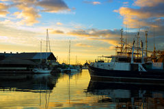 Fremantle harbor. The harbor of Fremantle at sunset in Fremantle, western Australia Royalty Free Stock Photo