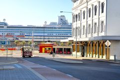 Fremantle Life: Trolley, Cruise Ship and Architecture Royalty Free Stock Photo