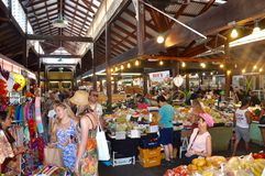 Fremantle Market: Barter Economy. FREMANTLE,WA,AUSTRALIA-FEBRUARY 21,2015: People in the bustling downtown Fremantle Markets in Fremantle, Western Australia Stock Photos
