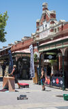 Fremantle marknader och Buskers royaltyfri foto