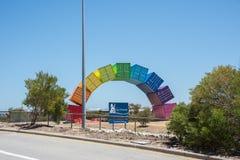 Fremantle Rainbow Sea Container Installation. FREMANTLE,WA,AUSTRALIA-NOVEMBER 13,2016: Vibrant rainbow sea container public art installation by Marcus Canning on stock photo