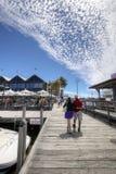 FREMANTLE VÄSTRA AUSTRALIEN - November 16, 2014 - sikt på bryggasidan av den Fremantle fiskebåthamnen arkivfoton