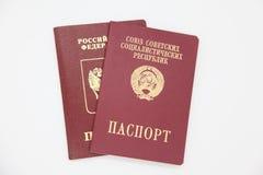Fremde Pässe von Russland und von UDSSR Stockfotos