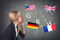 Fremdsprache. Konzept - lernend, sprechend, Stockfoto