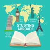 Fremdsprachekonzept im Ausland studieren Flache Artillustration des bunten Reisevektors Stockfotografie