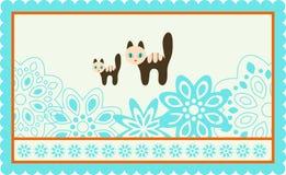 Freme con i gatti svegli ed i fiori decorati. Fotografia Stock
