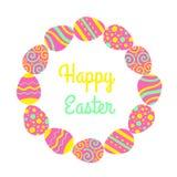 Freme heureux rond de Pâques avec les oeufs et le lettrage Carte de vecteur de salutation illustration de vecteur