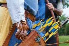 Fremito di cuoio con le frecce colorate dettaglio Fotografia Stock Libera da Diritti
