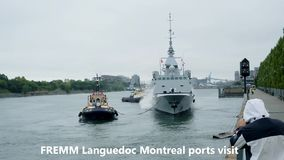 FREMM Languedoc Montreal ports visits stock footage