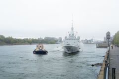 FREMM Languedoc & Svitzer Cartier tugboat. The FREMM multi-mission frigate Languedoc carried out a four-day port visit in Montréal from September 24th to Stock Photos