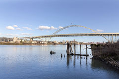 Fremont Bridge with Blue Sky Stock Images