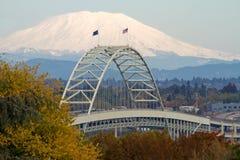 Fremont Bridge and Mount Saint Helens Stock Photo