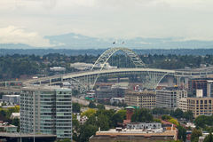 Fremont Bridge over Industrial Area in Portland Royalty Free Stock Image