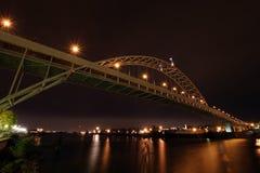 Fremont Bridge over Willamette River. At Night Stock Photos