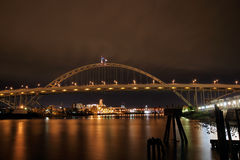 Fremont Bridge over Willamette River. At Night Royalty Free Stock Images