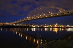 Fremont Bridge over Willamette River. At Blue Hour Stock Images