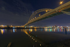 Fremont Bridge Over Willamette River at Night Royalty Free Stock Image