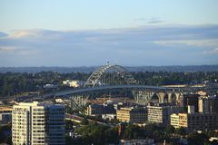 The Fremont bridge Portland OR. Royalty Free Stock Images