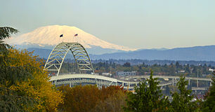 Fremont Bridge Portland Oregon Panorama Royalty Free Stock Image