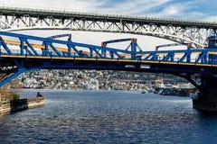 Fremont bro och George Washington Memorial Bridge royaltyfri foto