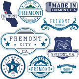 Fremont city, CA. Stamps and signs Stock Image