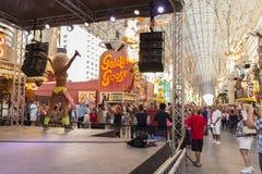 Fremont-Erfahrungsstadium, Tageszeit in Las Vegas, Nanovolt am 21. April, Lizenzfreie Stockfotografie