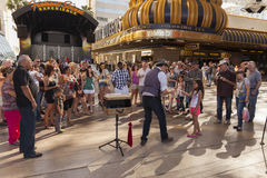 Fremont Experience, daytime in Las Vegas, NV on April 21, 2013. LAS VEGAS - APRIL 21, 2013 - Fremont Street on April 21, 2013  in Las Vegas. Hotel Nevada opened Stock Images