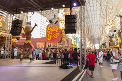 Fremont Experience stage, daytime in Las Vegas, NV on April 21, Royalty Free Stock Photography