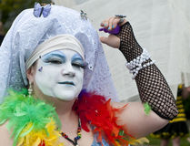 Fremont parade. SEATTLE, WA - JUNE 16, 2012: A member of the Sisters of Perpetual Indulgence participates the annual Fremont Summer Solstice Day Parade on June Stock Image