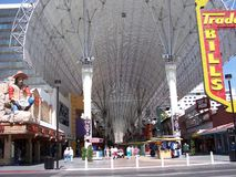 Fremont Street canopy by day, Las Vegas. Showing the Famous Fremont Street Experience display canopy by day.By night it is a light and sound spectacular stock images