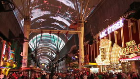 The Fremont Street Experience in Las Vegas, USA, 2017. San Francisco, USA - May 19, 2017: The Fremont Street Experience is a pedestrian mall and attraction in stock footage