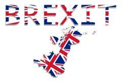 Förenade kungariket med Brexit på vit bakgrund Arkivfoto