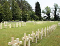 Frence cemetery in Dinant. Crosses at 1200 Frence soldiers in Dinant. Belgian Ardennes Royalty Free Stock Images