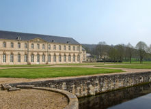 French abbey view. With canal Stock Photo