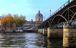 The French Academy and Arts bridge, Paris, France. Royalty Free Stock Photos