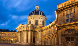 The French Academy at night , Paris, France. Royalty Free Stock Photos