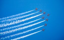 Eight alpha jets planes in flight stock image
