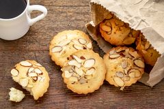 French almond cookies and coffee Royalty Free Stock Photography