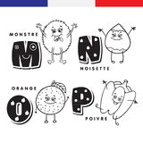 French alphabet. Monster, hazelnuts, orange, pepper. Vector letters and characters. Royalty Free Stock Photos
