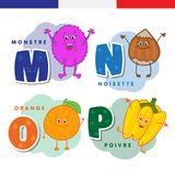 French alphabet. Monster, hazelnuts, orange, pepper. Vector letters and characters. Royalty Free Stock Image
