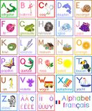 French alphabet with pictures and titles for children education. French alphabet with cartoon pictures and titles for children education royalty free illustration