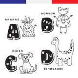 French alphabet. Pineapple, sweet, dog, dinosaur,. Vector letters and characters Stock Image