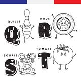 French alphabet. Skittles, wheel, mouse, tomato. Vector letters and characters. French alphabet. Skittles, wheel, mouse tomato Vector letters and characters Royalty Free Stock Images