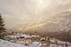 French alpine village winter view Stock Photo