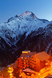 French Alps. Ski resort in French Alps at night Stock Images